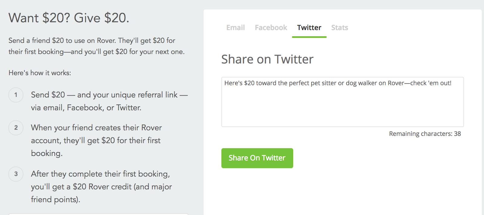 rover customer referral twitter share