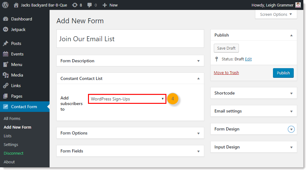 Choose the Constant Contact list you want to add new blog subscribers to.