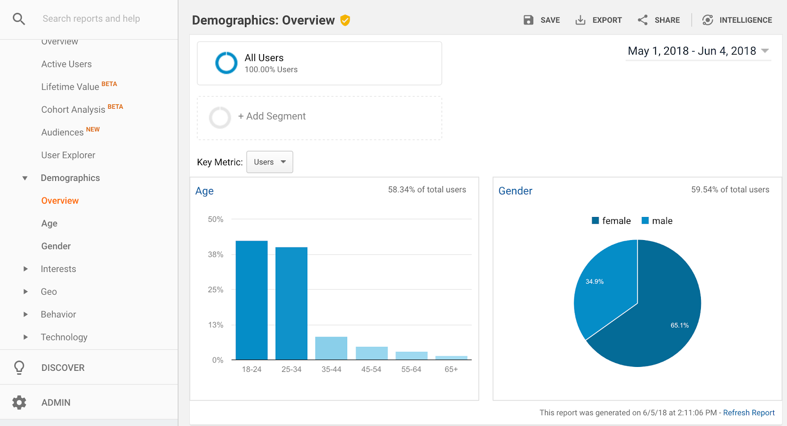 google analytics audience demographics overview