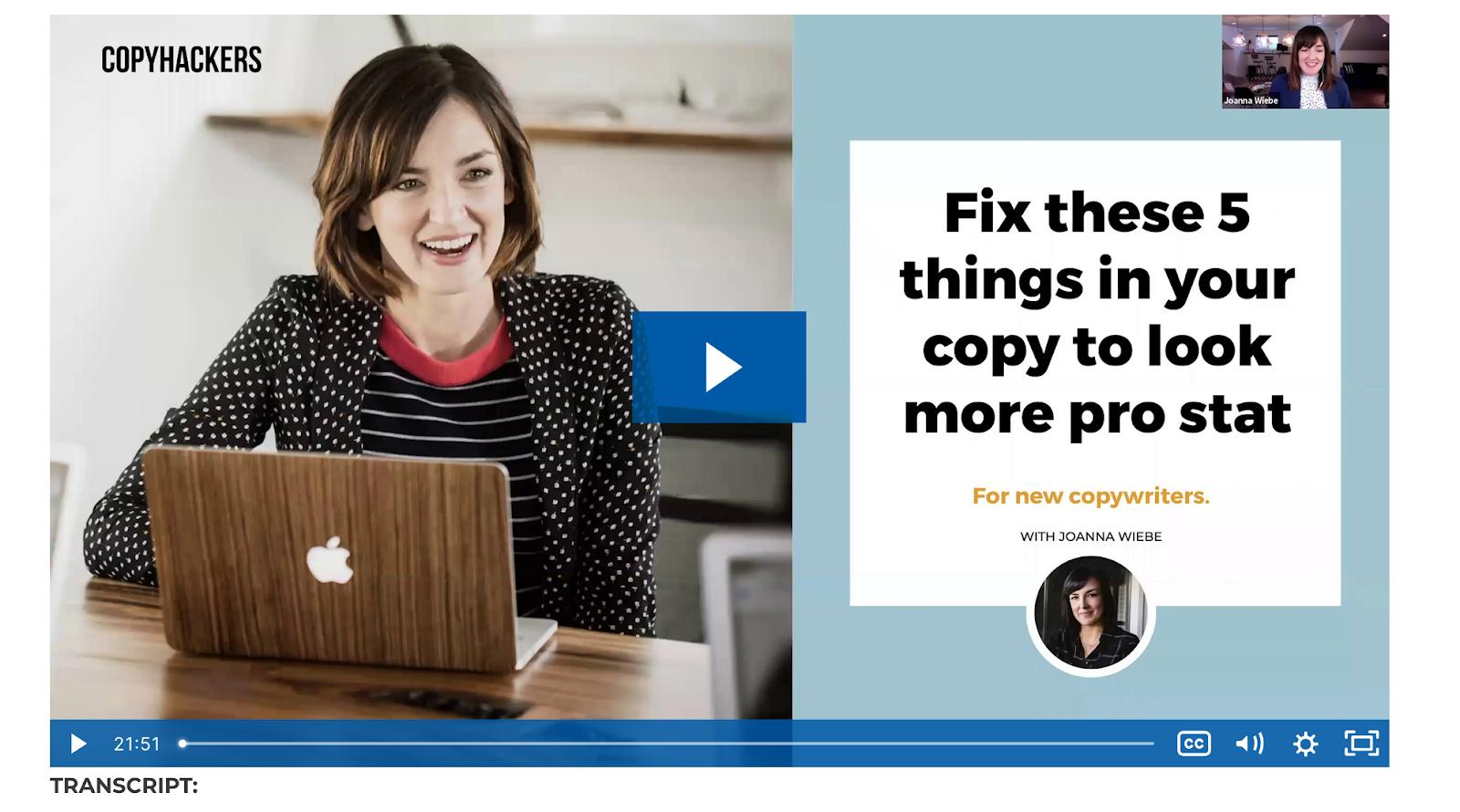 copyhackers has free video tutorials