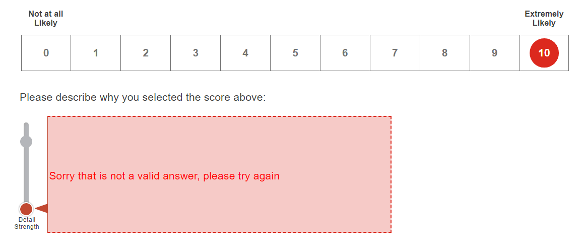 example of a bad customer survey experience that requires customer to fill out a free form field