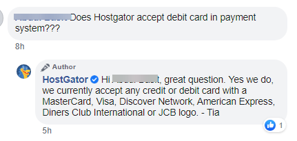 hostgator customer service response on facebook