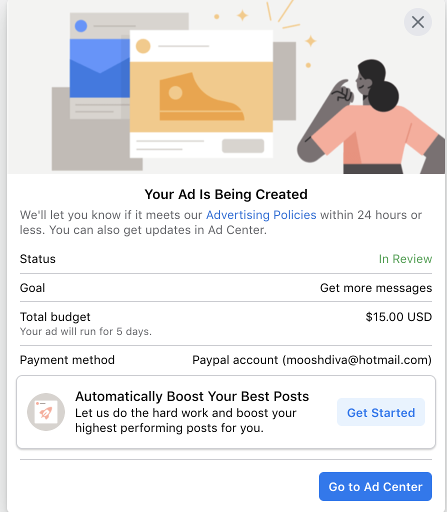 facebook ad center with confirmation screen for boosted post and budget
