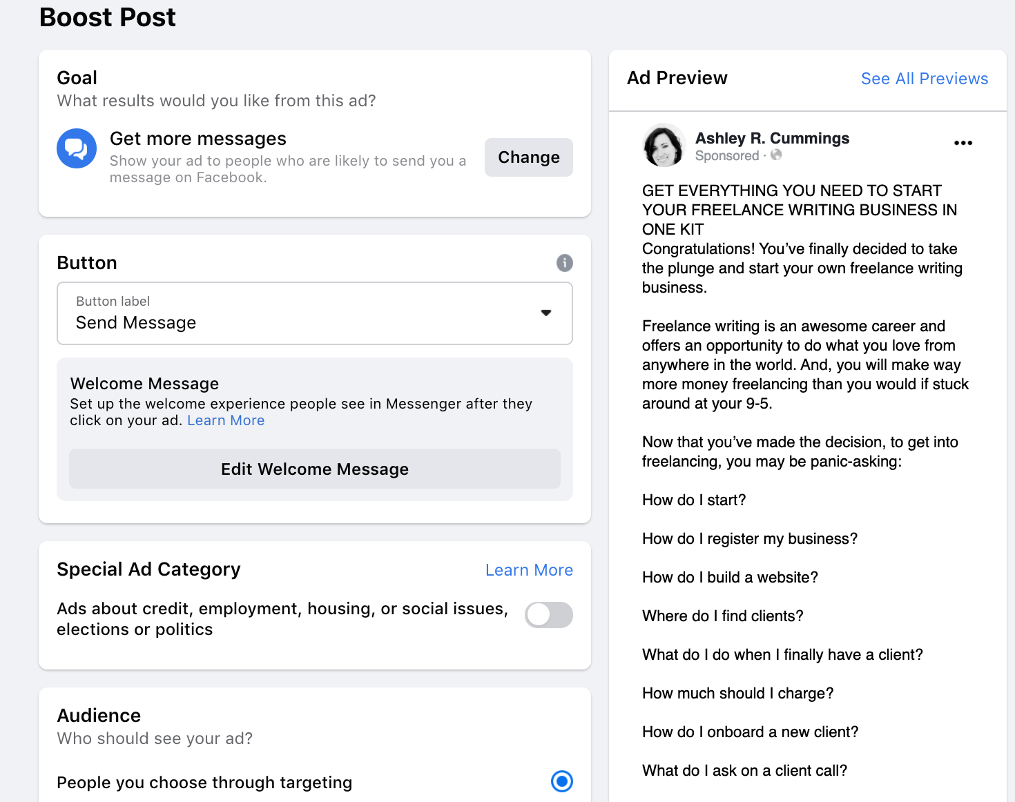 select target audience for facebook boosted post