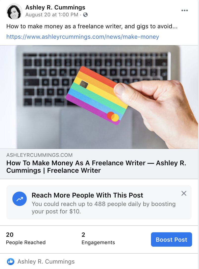 boost post button on previously published facebook post