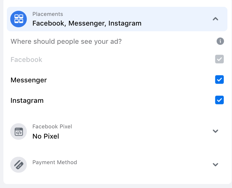select instagram placements for boosting post on instagram