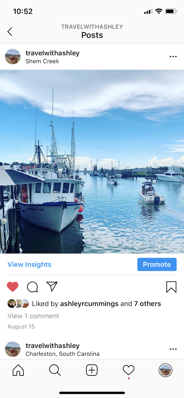 instagram post with promote button