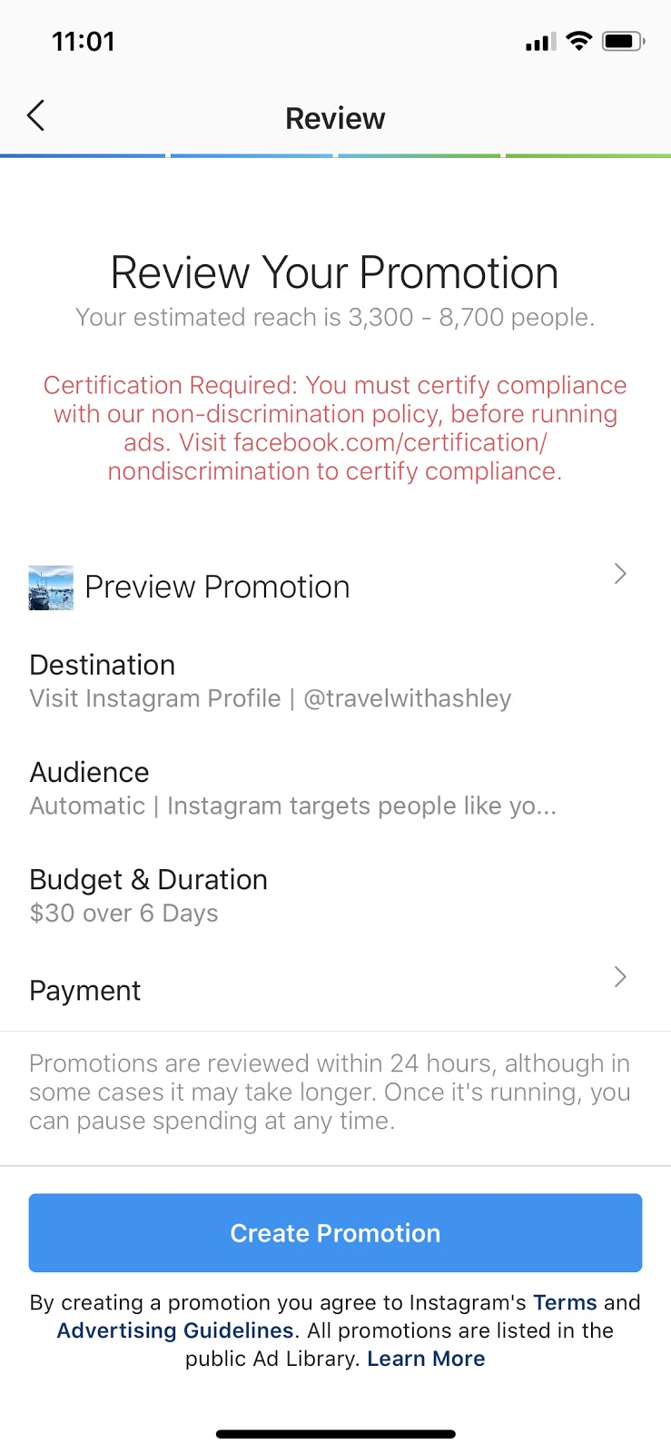 create instagram promoted post confirmation screen