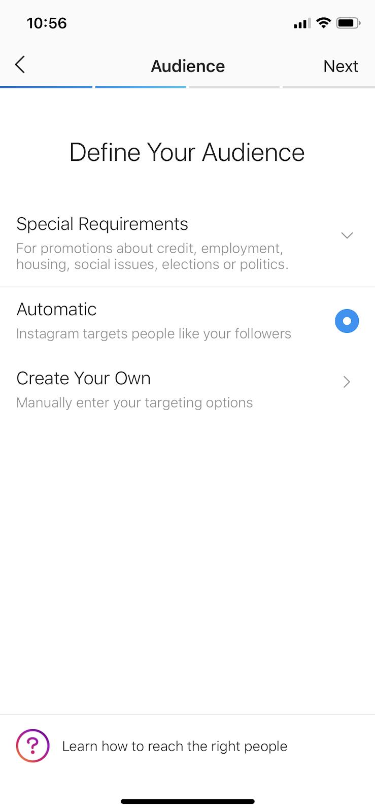 define audience when boosting post on instagram