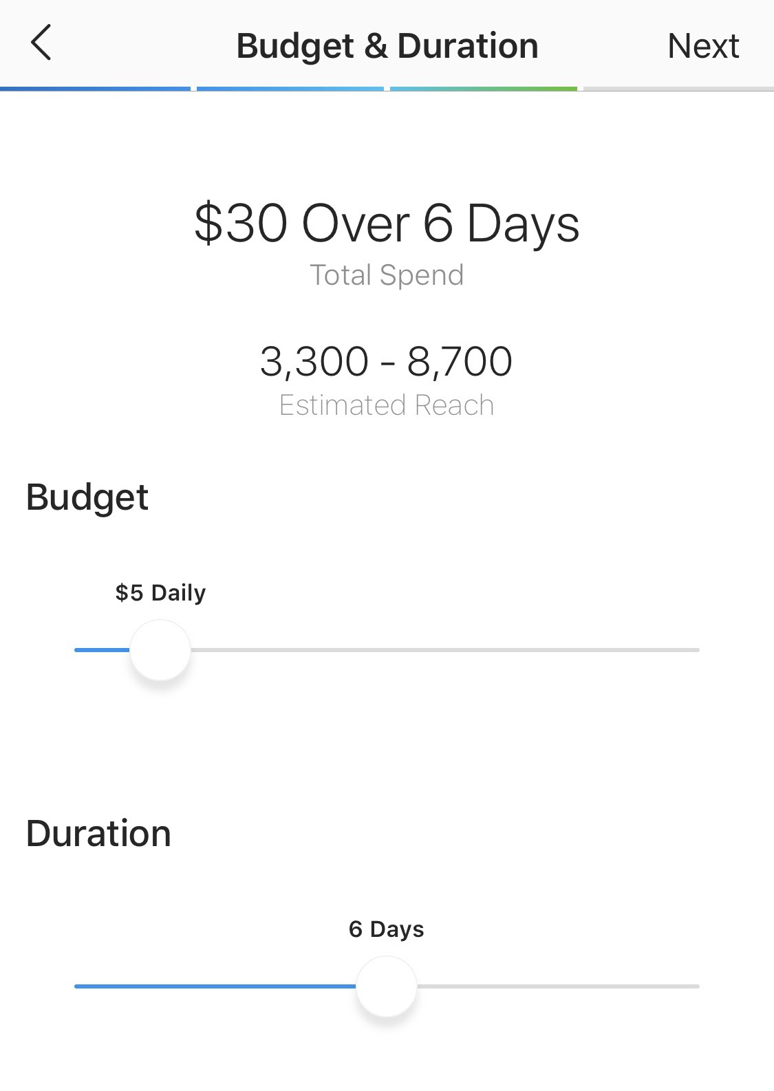 select budget for instagram promoted post