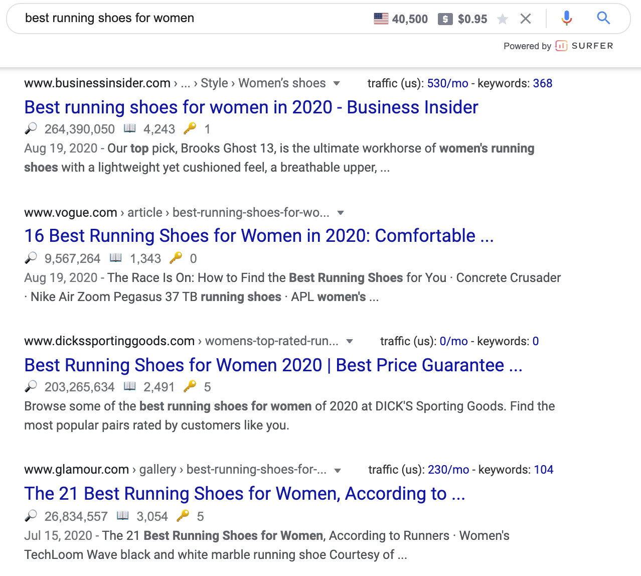 google search result for best running shoes for women shows review articles