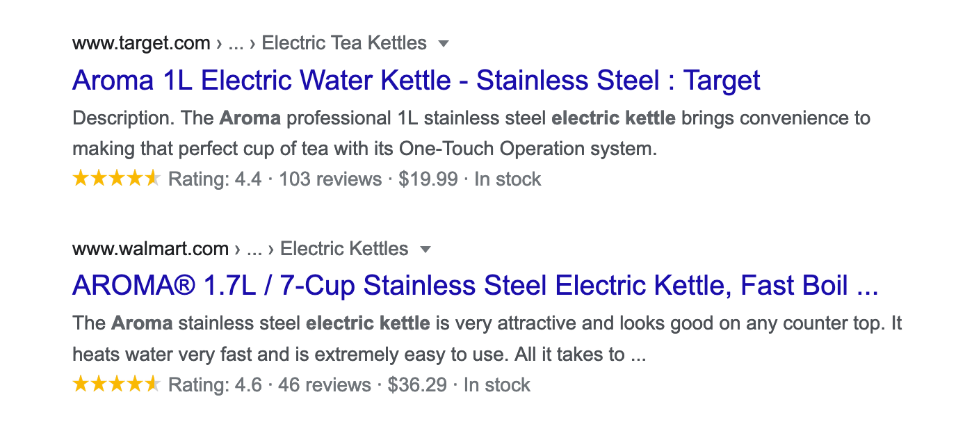 google results for ecommerce with product review schema markup