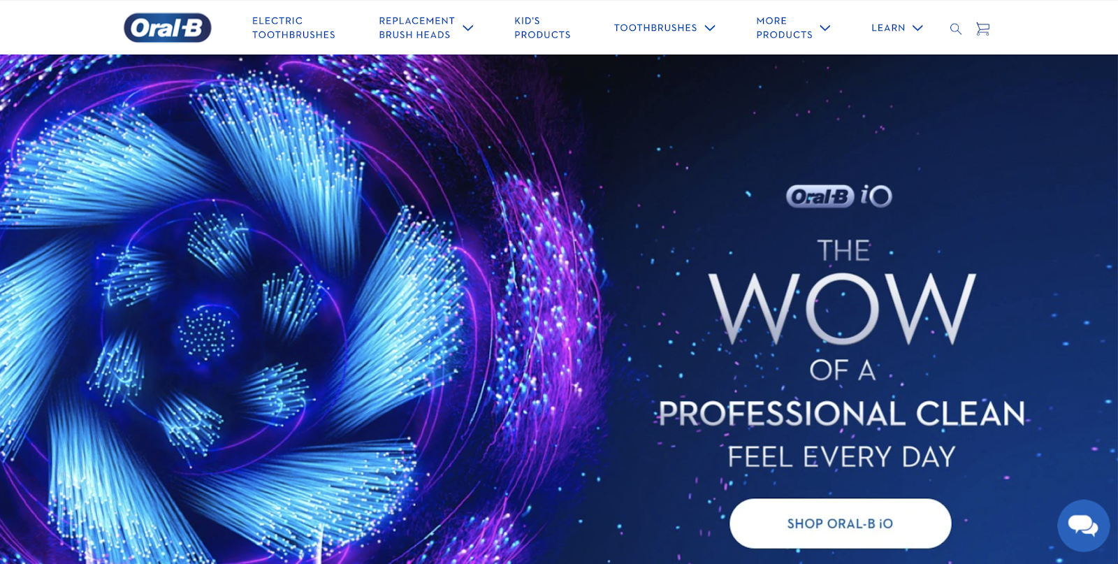 oral b website homepage with dark blue background