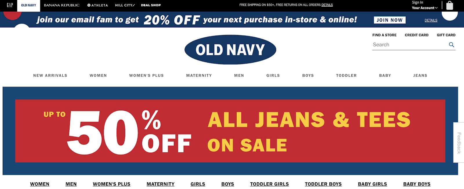 old navy website header uses bold colors to grab visitor attention