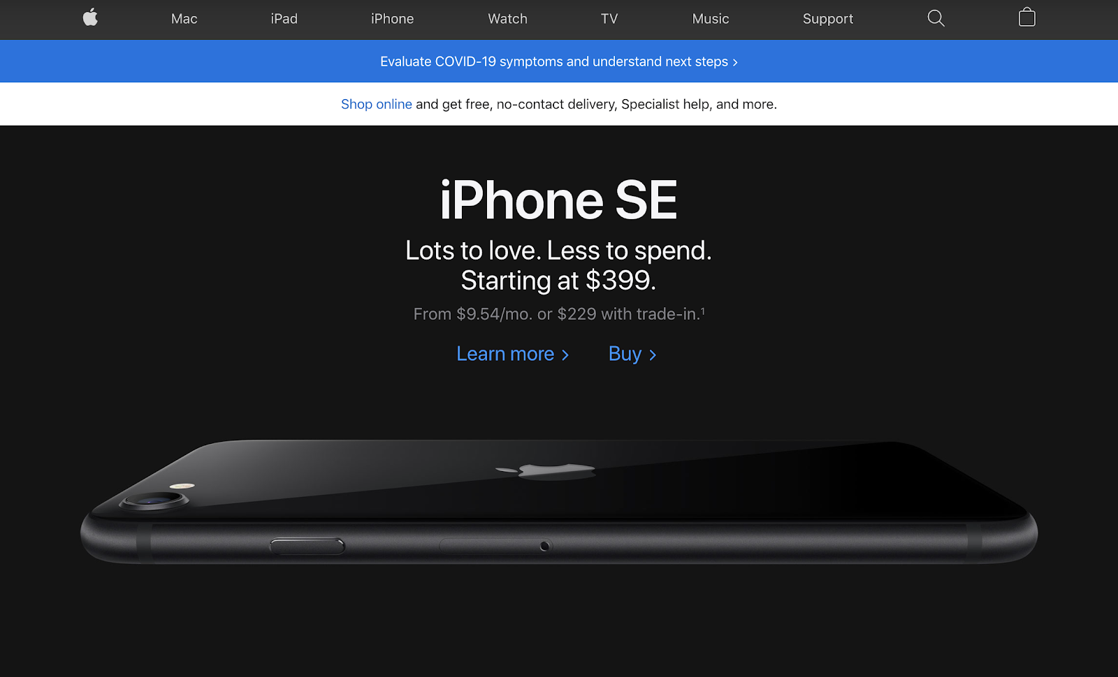 apple website uses product in hero image