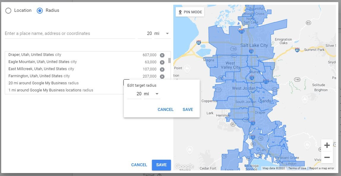 ppc targeting by business location