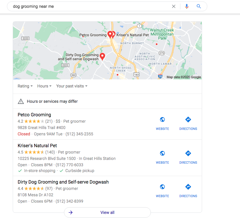 google map three pack with local business results