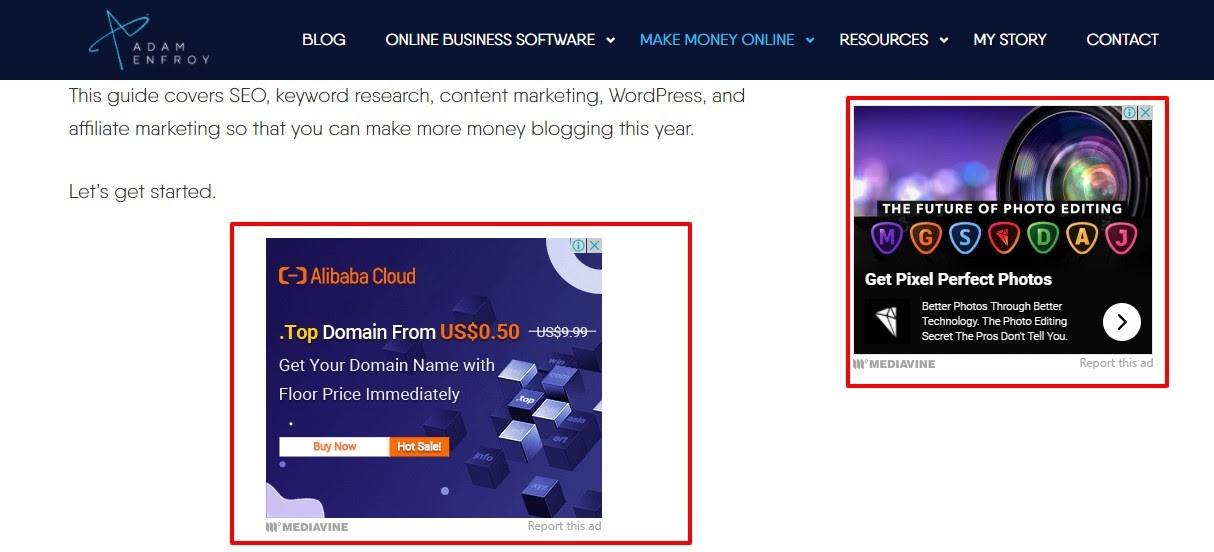 example of blog with different monetization methods including affiliate marketing and display ads