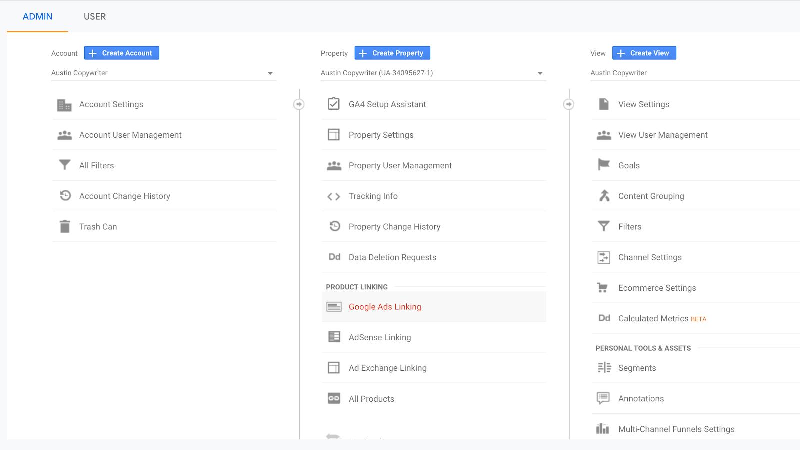 click goals under view column in google analytics