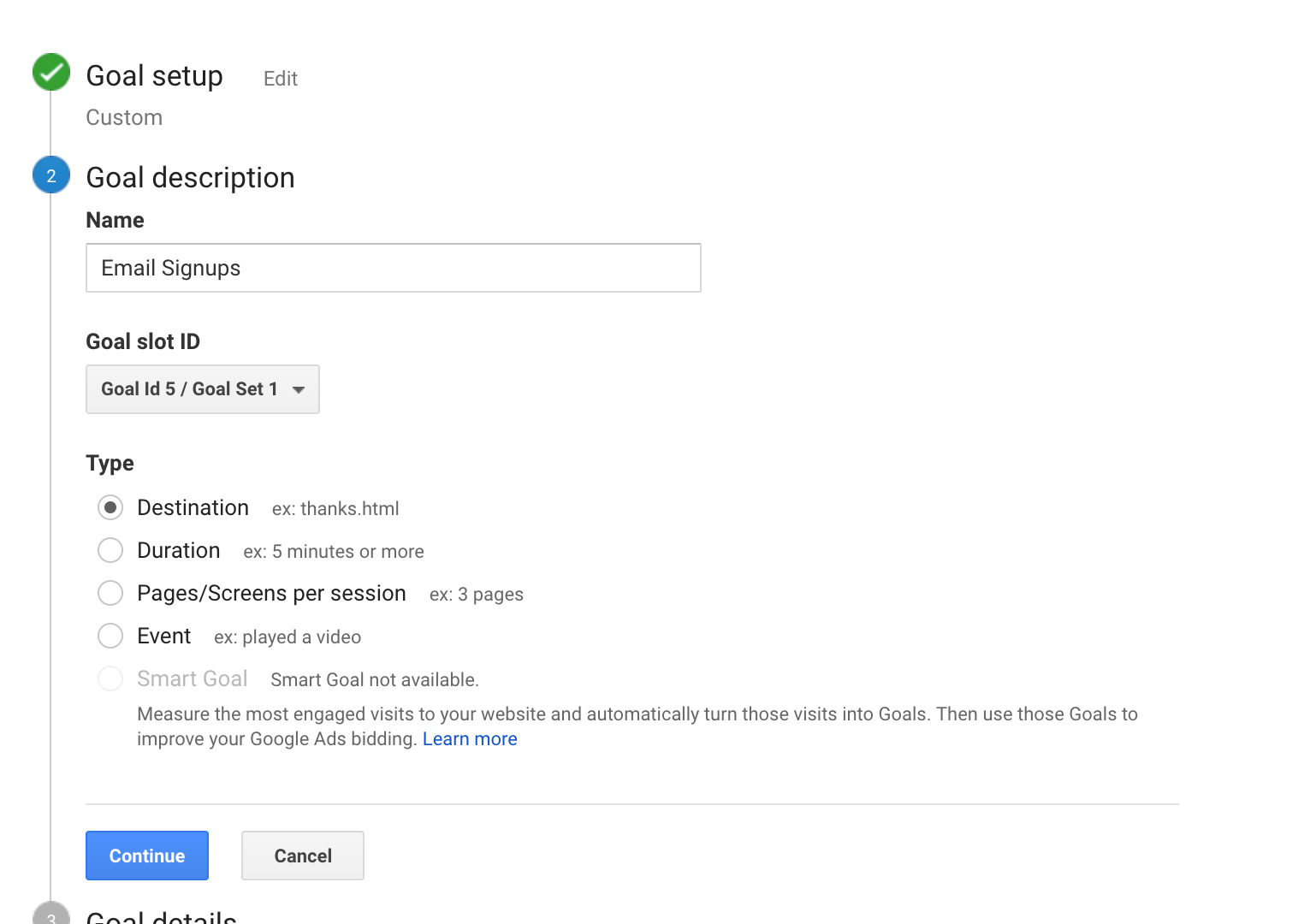 create goal in google analytics for email signups
