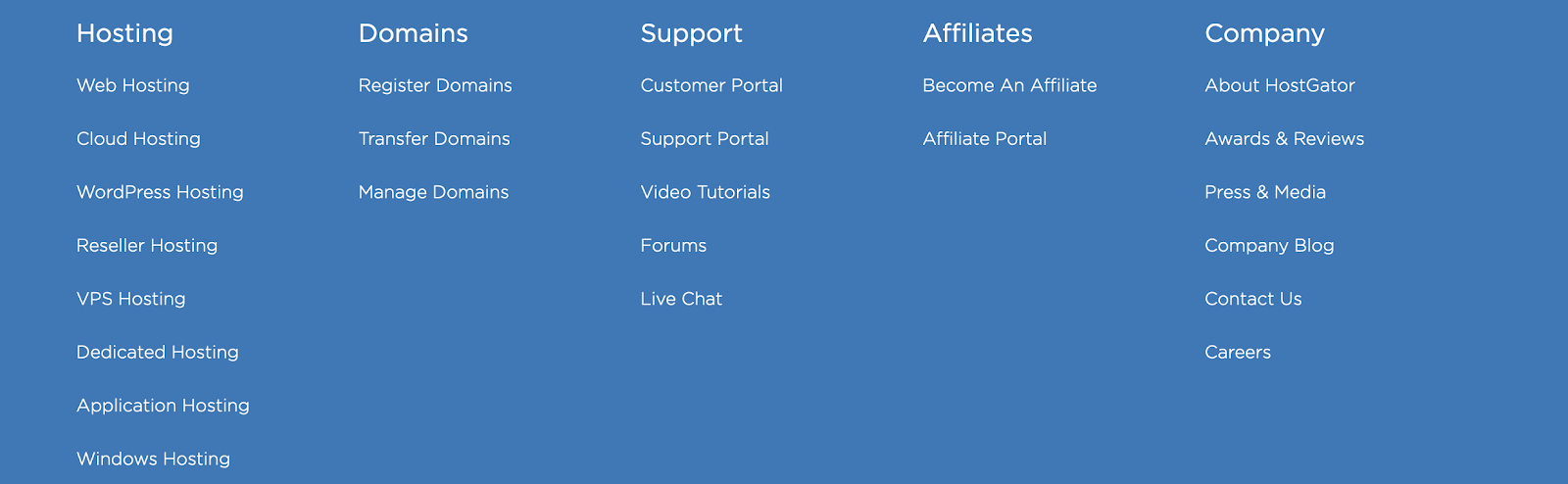 website footer with internal links to important pages