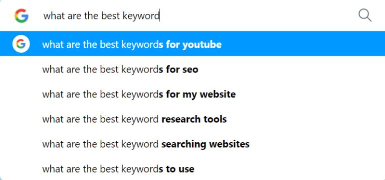google autocomplete keyword suggestions
