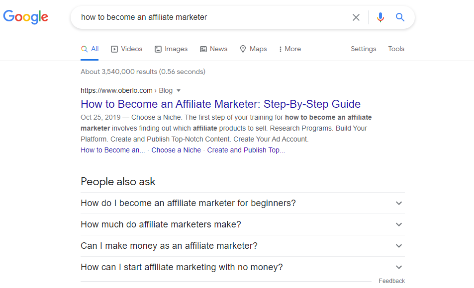 google search results for become an affiliate marketer