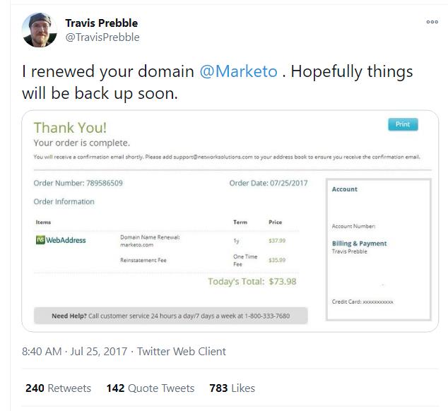 travis pebble tweet about renewing marketo domain