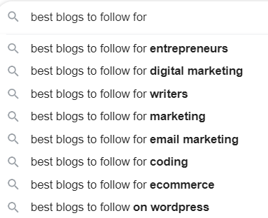 search google for blogs in your niche
