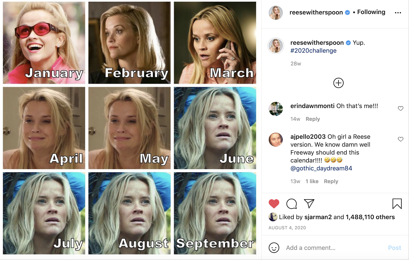 reese witherspoon 2020 challenge meme
