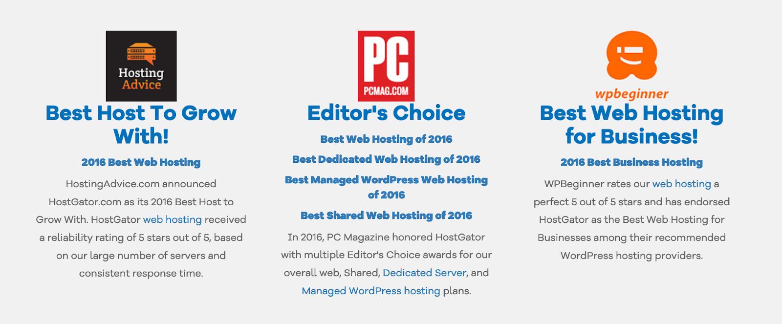 Hosting awards on HostGator.com