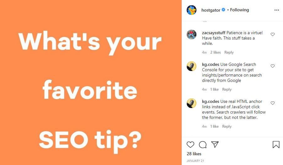 hostgator instagram community