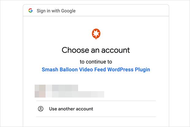 google login to connect youtube account to smash balloon video feed wordpress plugin