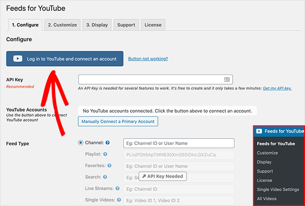 connect youtube account with feeds for youtube plugin