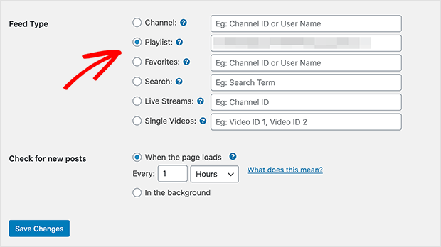 enter playlist id to display youtube playlist on wordpress website in smashballoon plugin