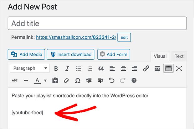 embed youtube playlist on wordpress editor