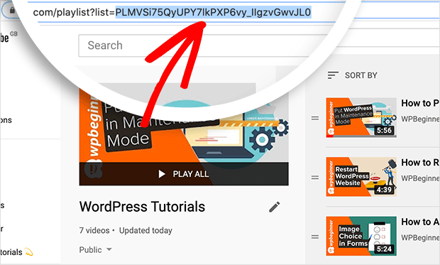 youtube playlist id is in the URL of your youtube playlist