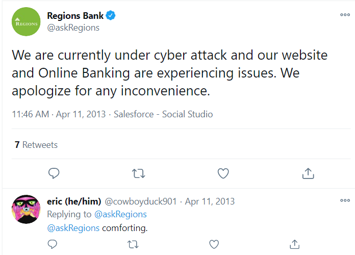 regions bank tweet about cyber attack