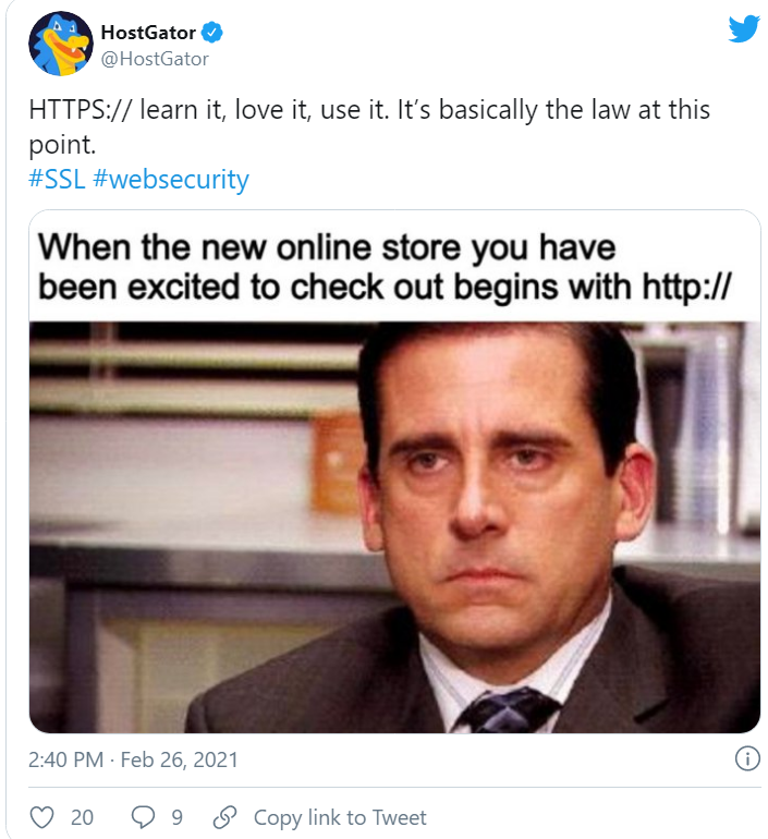 HostGator twitter post with The Office meme about using https