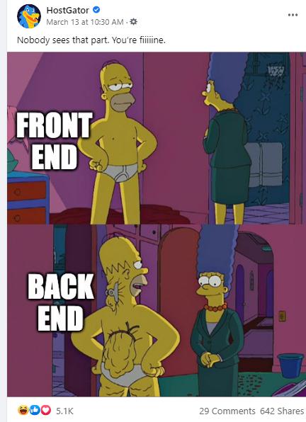HostGator Simpsons web development meme