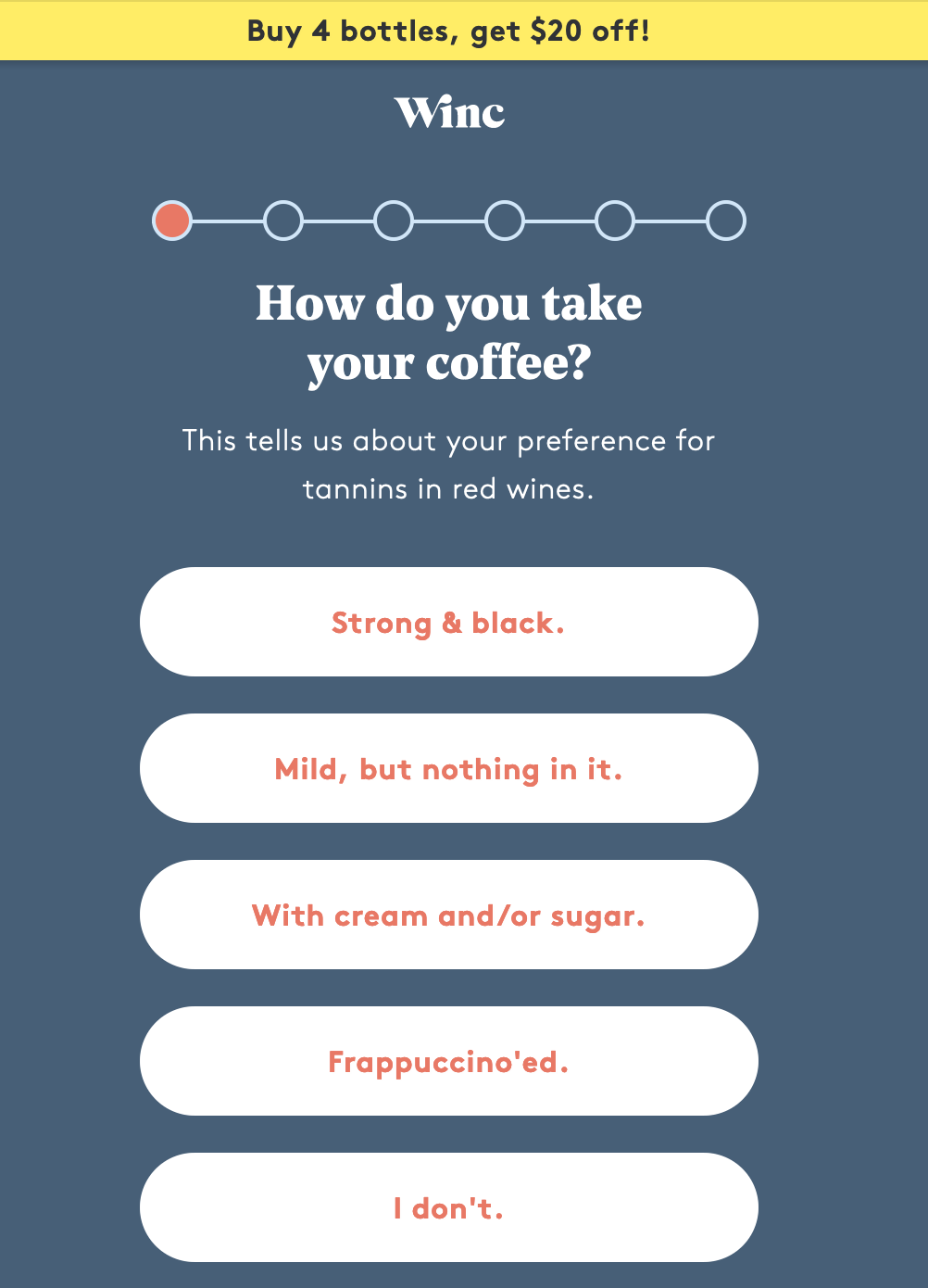 winc ecommerce website uses personalized quiz to grow email subscriber list