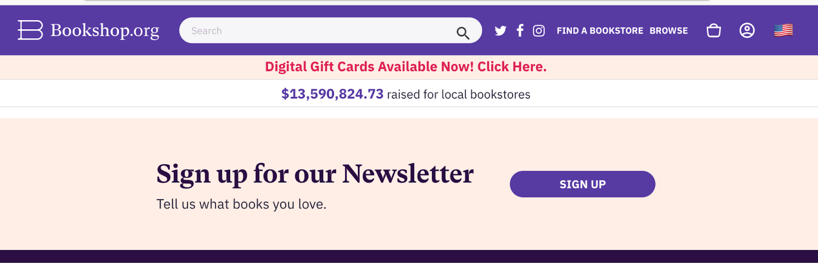 sticky banner with call to action to subscribe to ecommerce newsletter