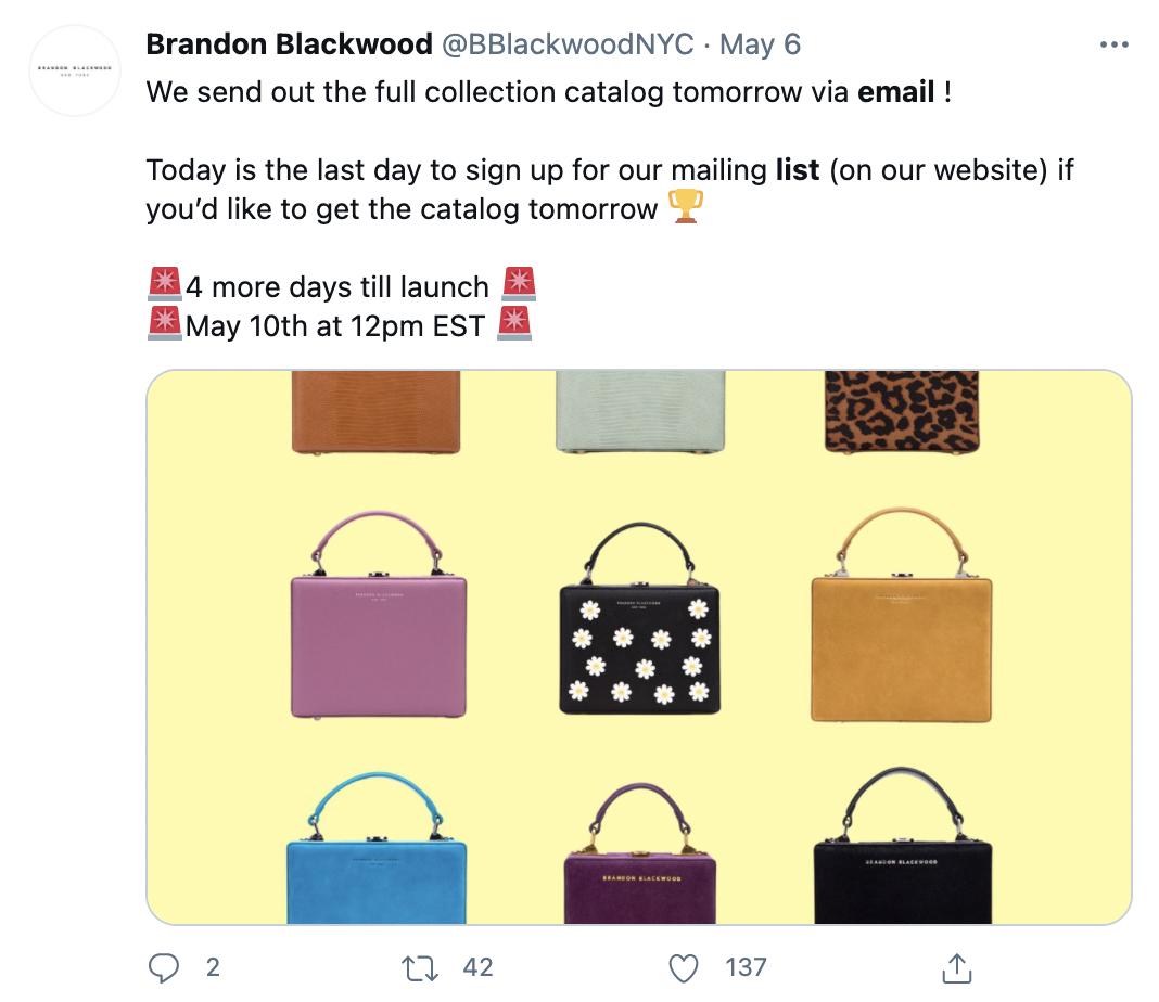 ecommerce website promoting email newsletter on twitter