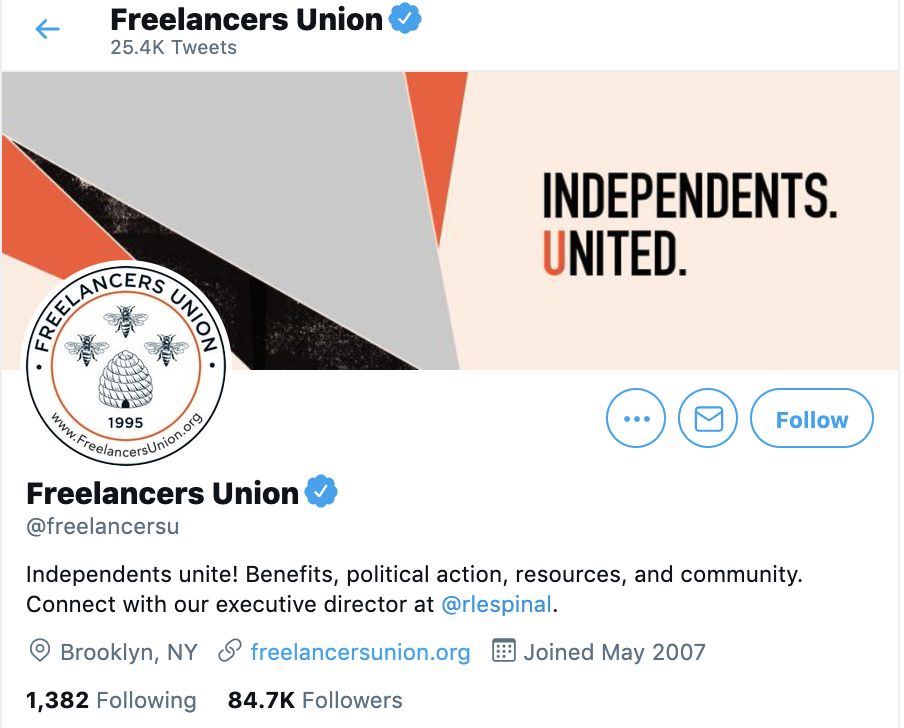 freelancers union twitter