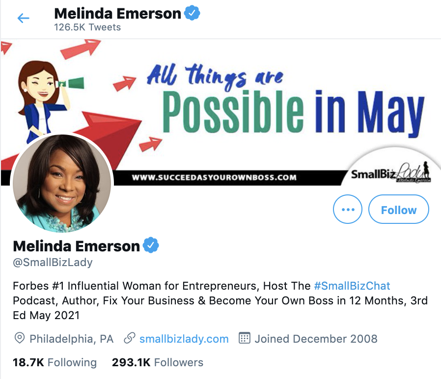 smallbizlady melinda emerson twitter
