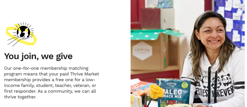 For every new paid membership, Thrive Market provides a free one to someone in need