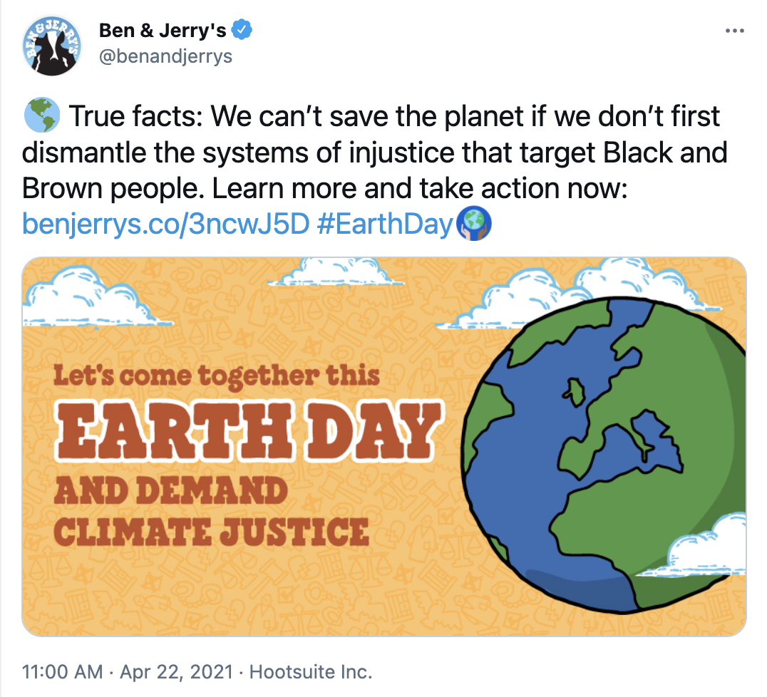 tweet from ben & jerry's advocating for social change