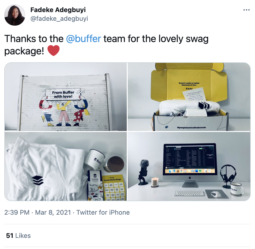 tweet talking about free swag a customer received from buffer