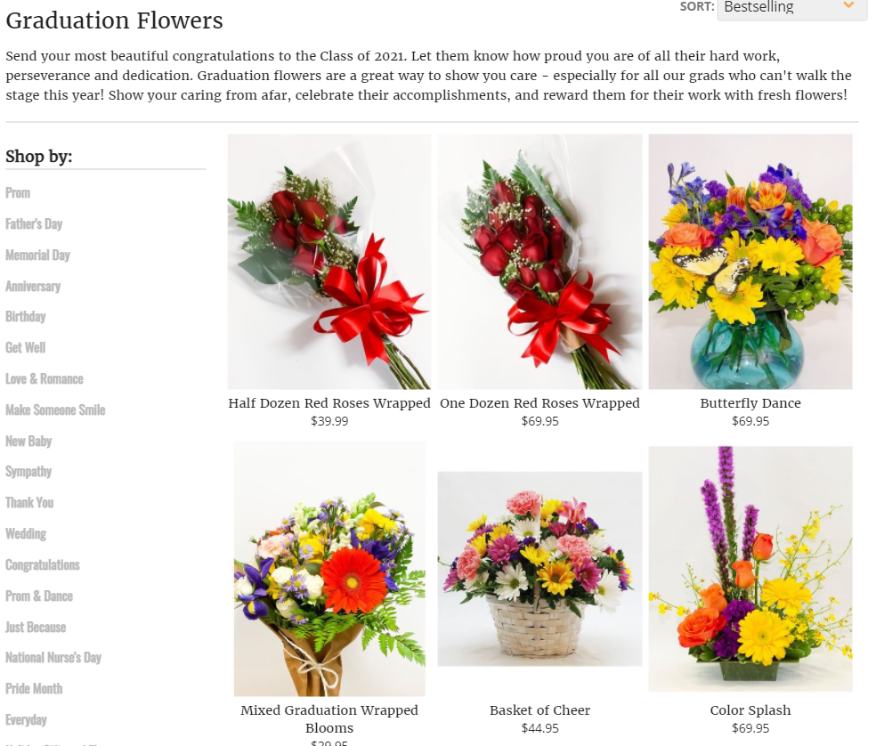 image from a florist website with bouquets