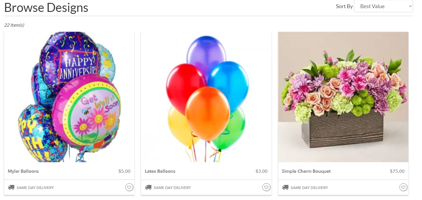 image of a florist website with balloons and flowers
